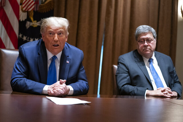 FILE - In this Sept. 23, 2020, file photo Attorney General William Barr listens as President Donald Trump speaks during a meeting with Republican state attorneys general about social media companies, in the Cabinet Room of the White House in Washington. Barr offered his resignation last Monday after weeks of tension with Trump brought about an early exit from his post. (AP Photo/Evan Vucci, File)