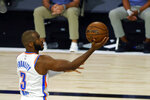 Oklahoma City Thunder's Chris Paul attempts a lay up against the Los Angeles Lakers during the first half of an NBA basketball game Wednesday, Aug. 5, 2020, in Lake Buena Vista, Fla. (Kevin C. Cox/Pool Photo via AP)