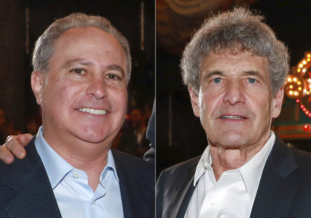 In this combination photo, Alan Bergman, left, and Alan F. Horn, attend the premiere of