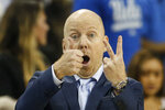 FILE - In this Feb. 27, 2020, file photo, UCLA head coach Mick Cronin gestures during an NCAA college basketball game against Arizona State in Los Angeles. The first-place Bruins own a half-game lead over Oregon and can clinch at least a share of the league crown with a victory at crosstown rival Southern California on Saturday, March 7, 2020. They haven't won the regular-season title since 2012-13. (AP Photo/Ringo H.W. Chiu, File)