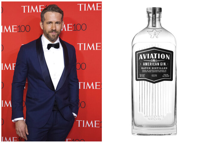 This combination photo shows Ryan Reynolds attending the TIME 100 Gala in New York on April 25, 2017, left, and a bottle of his Aviation American Gin. Celebrities are deep into the liquor and wine business with their own brands that are particularly gifty for drink-loving fans. (AP Photo, left, and Aviation via AP)
