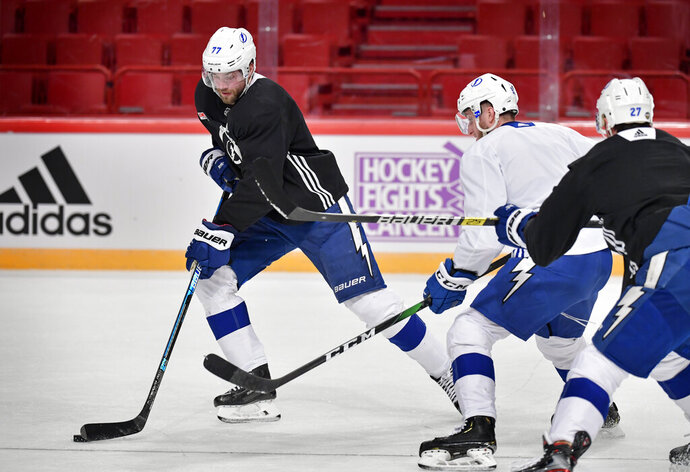 Tampa Bay Lightning's Victor Hedman attends a team open training session at the Glob Arena in Stockholm, Thursday Nov. 7, 2019. On Friday Tampa Bay Lightning will play Buffalo Sabres in the NHL Global Series. (Anders Wiklund/TT News Agency via AP)