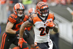 Cincinnati Bengals running back Joe Mixon rushes during the second half of an NFL football game against the Cleveland Browns, Sunday, Dec. 8, 2019, in Cleveland. (AP Photo/Ron Schwane) FBN