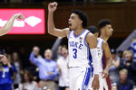 Duke guard Tre Jones (3) reacts following a basket against Florida State during the second half of an NCAA college basketball game in Durham, N.C., Monday, Feb. 10, 2020. (AP Photo/Gerry Broome)