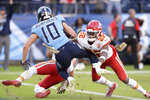 Tennessee Titans wide receiver Adam Humphries (10) scores the winning touchdown ahead of Kansas City Chiefs free safety Juan Thornhill (22) in the fourth quarter of an NFL football game Sunday, Nov. 10, 2019, in Nashville, Tenn. The Titans won 35-32. (AP Photo/Mark Zaleski)