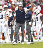 Auburn coach Gus Malzahn reacts to a call during the second half of an NCAA college football game against Arkansas, Saturday, Oct. 19, 2019 in Fayetteville, Ark. (AP Photo/Michael Woods)