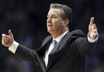 Kentucky head coach John Calipari directs his team during the second half of an NCAA college basketball game against South Carolina in Lexington, Ky., Tuesday, Feb. 5, 2019. Kentucky won 76-48. (AP Photo/James Crisp)
