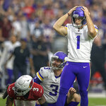 Minnesota Vikings kicker Greg Joseph (1) reacts after missing a field goal at the end of the fourth quarter of an NFL football game against the Arizona Cardinals, Sunday, Sept. 19, 2021, in Glendale, Ariz. (Elizabeth Flores/Star Tribune via AP)