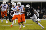 Boise State wide receiver Khalil Shakir (2) runs past Central Florida linebacker Jeremiah Jean-Baptiste (11) after a reception during the second half of an NCAA college football game early Friday, Sept. 3, 2021, in Orlando, Fla. (AP Photo/John Raoux)