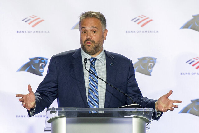 Carolina Panthers NFL football team new head coach Matt Rhule talks to the media during a news conference at the teams practice facility, Wednesday, Jan. 8, 2020, in Charlotte, N.C. (AP Photo/Mike McCarn)