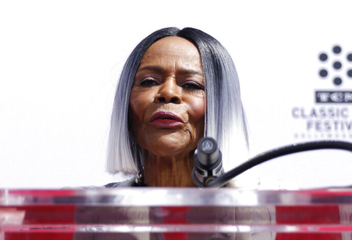"FILE - In an April 27, 2018 file photo, Cicely Tyson speaks at her Hand and Footprint Ceremony at the TCL Chinese Theatre, in Los Angeles. PWN Netwoek said Tuesday, August 13, 2019 that Cicely Tyson will join the cast as a series regular in Ava DuVernay's new romance anthology series on OWN, ""Cherish the Day."" (Photo by Willy Sanjuan/Invision/AP, File)"