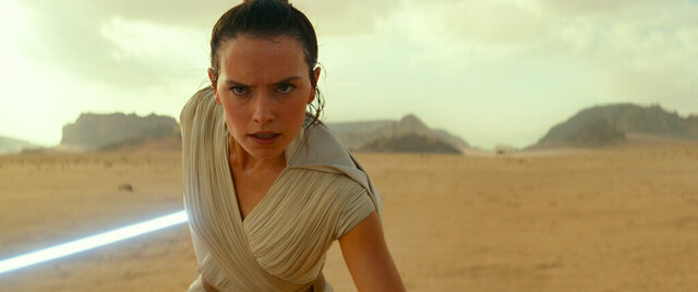 This image released by Disney/Lucasfilm shows Daisy Ridley as Rey in a scene from