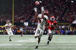 Alabama wide receiver DeVonta Smith (6) scores the game winning touchdown in overtime during the College Football Playoff National Championship game between Georgia and Alabama on Monday, Jan. 8, 2017 in Atlanta, Ga. (AJ Reynolds/Athens Banner-Herald via AP)