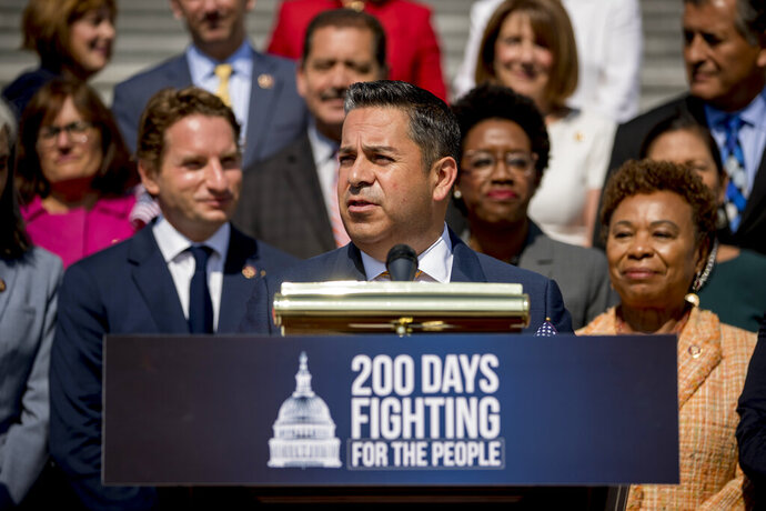 FILE - In this July 25, 2019, file photo, Rep. Ben Ray Luján, D-N.M., speaks as House Democrats hold a news conference in Washington. New Mexico is deciding on final contenders in open races for a U.S. Senate seat and a northern congressional slot that last changed hands a dozen years ago, as the sun sets on a Democratic political dynasty that emerged from a territorial 19th century legislature.  (AP Photo/Andrew Harnik, File)
