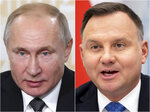 This combination of photos shows Russian President Vladimir Putin, left, on Nov. 27, 2019, in St. Petersburg, Russia, and Poland's President Andrzej Duda in Vilnius, Lithuania, on Nov. 21, 2019. World leaders will gather twice to mark the 75th anniversary of the liberation of the Auschwitz-Birkenau concentration camp _ once on Thursday, Jan. 23, 2020, in Jerusalem and again on Jan. 27 at the Auschwitz site in southern Poland. The competing commemorations underline how politically charged World War II remains as nationalist governments in Russia and Poland seek to make some political gains from their bitter history. (AP Photo)