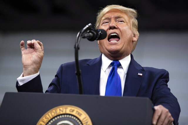 President Donald Trump speaks during a campaign rally at UW-Milwaukee Panther Arena, Tuesday, Jan. 14, 2020, in Milwaukee. (AP Photo/ Evan Vucci)