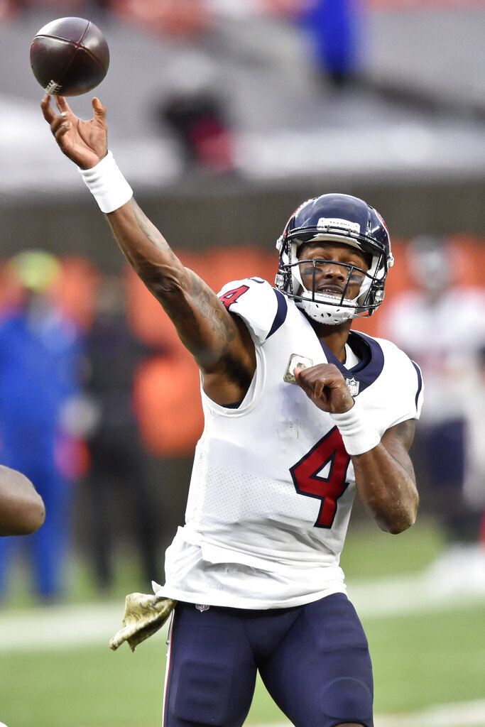 Houston Texans quarterback Deshaun Watson (4) passes during the second half of an NFL football game against the Cleveland Browns, Sunday, Nov. 15, 2020, in Cleveland. (AP Photo/David Richard)