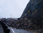 This photo provided by the California Department of Transportation (Caltrans) shows a rock slide caused by storms, Saturday, Dec. 7, 2019, in Big Sur, Calif. A winter storm brought strong wind along with heavy rain and snow across Northern California on Saturday.  (AP Photo/ Cal Trans via AP)