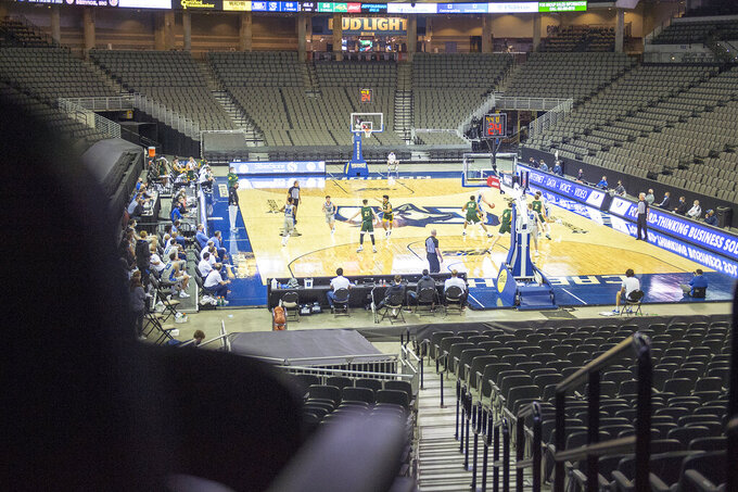 Creighton leads North Dakota State in the final seconds of an NCAA college basketball game in Omaha, Neb., Sunday, Nov. 29, 2020. (AP Photo/Kayla Wolf)