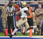 Army's Kell Walker runs for a touchdown during the second half of an NCAA college football game against UTSA, Saturday, Sept. 14, 2019 in San Antonio. (AP Photo/Darren Abate)