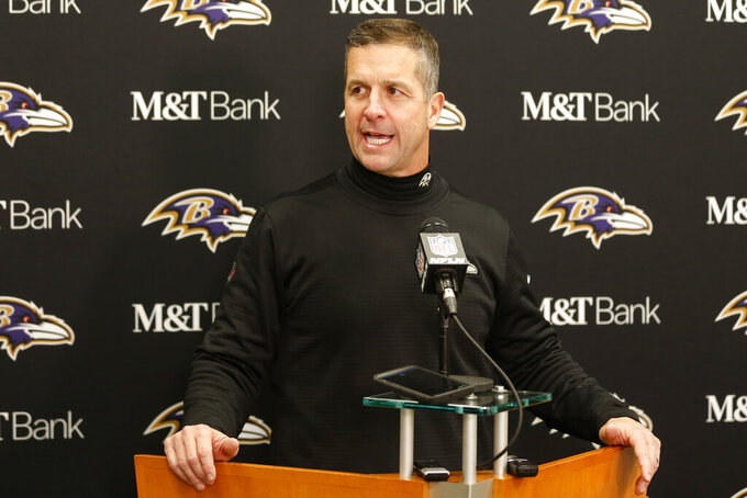 Baltimore Ravens head coach John Harbaugh speaks at a news conference after the Ravens defeated the Cleveland Browns in an NFL football game, Sunday, Dec. 22, 2019, in Cleveland. (AP Photo/Ron Schwane)