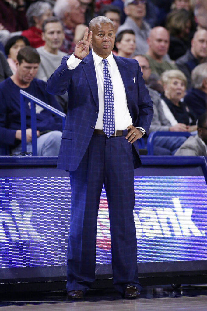 Texas Southern head coach Johnny Jones signals his players during the second half of an NCAA college basketball game against Gonzaga in Spokane, Wash., Wednesday, Dec. 4, 2019. Gonzaga won 101-62. (AP Photo/Young Kwak)