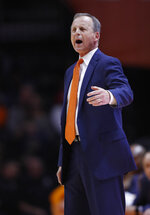 Tennessee head coach Rick Barnes yells to his players during the first half of an NCAA college basketball game against the South Carolina Wednesday, Feb. 13, 2019, in Knoxville, Tenn. Tennessee won 85-73. (AP photo/Wade Payne)