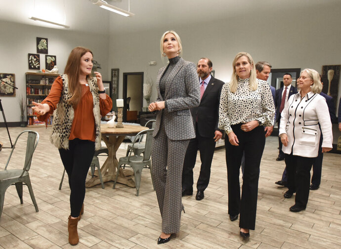 Kelsi Deel, left,, director, explains as Advisor to the President Ivanka Trump tours a local safe haven in Atlanta, Tuesday, Jan. 14, 2020. Ivanka Trump toured two facilities on Tuesday that help survivors in downtown Atlanta. President Donald Trump has listed fighting sex trafficking as a priority, as has the Kemp administration and Marty Kemp. (Hyosub Shin/Atlanta Journal-Constitution via AP)