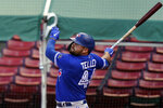 Toronto Blue Jays' Rowdy Tellez hits a home run in the sixth inning of a baseball game against the Boston Red Sox, Sunday, Sept. 6, 2020, in Boston. (AP Photo/Steven Senne)