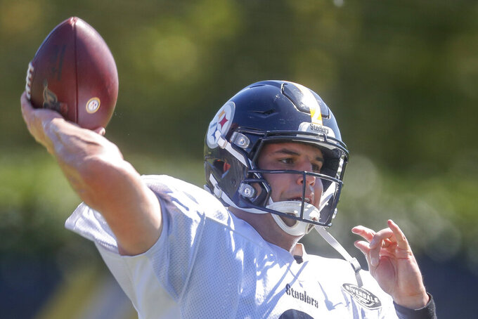 Pittsburgh Steelers quarterback Mason Rudolph (2) passes during a drill during an NFL football practice, Wednesday, Sept. 18, 2019, in Pittsburgh. (AP Photo/Don Wright)