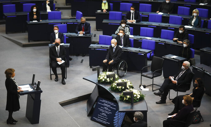 Holocaust survivor Charlotte Knobloch, left, delivers a speech at the German Federal Parliament, Bundestag, at the Reichstag building in Berlin, Germany, Wednesday, Jan. 27, 2021 during a special meeting commemorating the victims of the Holocaust on the International Holocaust Remembrance Day. (AP Photo/Markus Schreiber)