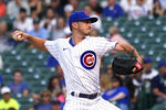 Chicago Cubs starting pitcher Zach Davies delivers during the first inning of the team's baseball game against the Cincinnati Reds on Wednesday, July 28, 2021, in Chicago. (AP Photo/Charles Rex Arbogast)