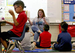 FILE - In this May 4, 2018, file photo, third grade teacher Jennifer Boettcher reads a story to kids as they eat breakfast at San Marcos Elementary School in Chandler, Ariz. Public schools in Arizona that have weathered a decade of funding cuts with only partial restoration could see a big infusion of cash if a ballot measure backed by teachers and advocacy groups passes in November, but opponents say Proposition 208 will hurt the economy and only bring partial relief. (AP Photo/Matt York, File)