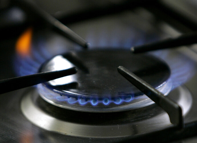 FILE - In this Jan. 11, 2006 file photo, a gas-lit flame burns on a natural gas stove in Stuttgart, Germany. A California restaurant organization is suing Berkeley over the city's ban on natural gas, which is set to take effect in January, 2020. The California Restaurant Association said in its lawsuit filed Thursday, Nov. 21, 2019, that many chefs use natural gas stoves and the prohibition will crimp the San Francisco Bay Area's reputation for international and fine cuisine. (AP Photo/Thomas Kienzle, File)