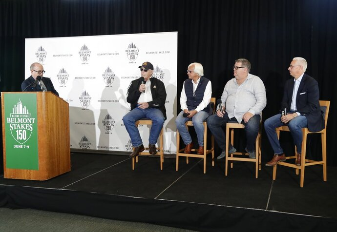 Trainers D. Wayne Lukas, Bob Baffert, Dale Romans and Todd Pletcher, from second from left, sit on stage during the draw for Saturday's Belmont Stakes horse race, Tuesday, June 5, 2018, in New York. (AP Photo/Frank Franklin II)