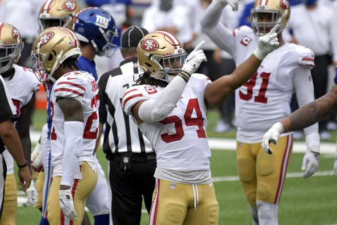 San Francisco 49ers' Fred Warner reacts during the second half of an NFL football game against the New York Giants, Sunday, Sept. 27, 2020, in East Rutherford, N.J. (AP Photo/Bill Kostroun)