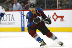 FILE - In this Jan. 25, 2017, file photo, Colorado Avalanche right wing Jarome Iginla (12) skates in the first period of an NHL hockey game in Denver. Iginla, the first Black player to lead the NHL in points and goals and to win an Olympic gold medal, is expected to headline the Hockey Hall of Fame's 2020 induction class, to be announced Wednesday, June 24, 2020.  (AP Photo/David Zalubowski, File)