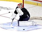 Florida Panthers goaltender Sergei Bobrovsky (72) makes a save during an NHL hockey training camp Thursday, Sept. 23, 2021, in Sunrise, Fla. (David Santiago/Miami Herald via AP)
