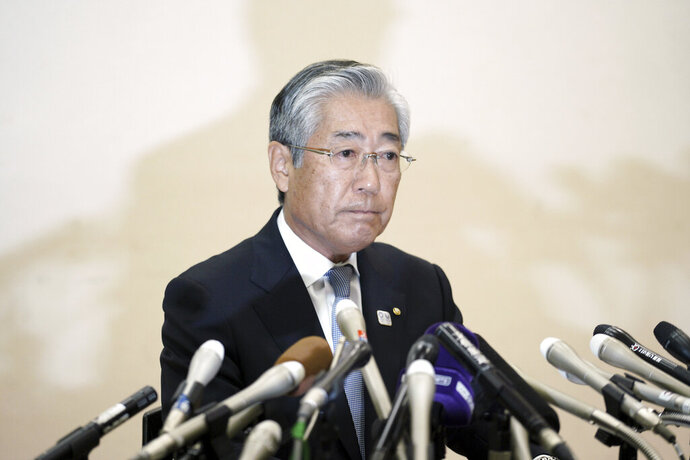 International Olympics Committee member and head of the Japanese Olympic Committee Tsunekazu Takeda pauses during a press conference in Tokyo Tuesday, Jan. 15, 2019. Takeda has denied corruption allegations against him concerning reported bribes paid to be awarded the rights to host the 2020 Olympics. (AP Photo/Eugene Hoshiko)