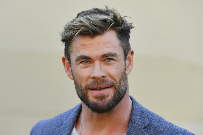 "Actor Chris Hemsworth attends at a press conference to announce the new ""Mad Max"" film at Fox Studios Australia in Sydney, Monday, April 19, 2021. (Mick Tsikas/AAP Image via AP)"
