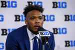 Penn State cornerback Tariq Castro-Fields talks to reporters during an NCAA college football news conference at the Big Ten Conference media days, Thursday, July 22, 2021, at Lucas Oil Stadium in Indianapolis. (AP Photo/Doug McSchooler)