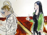 In this courtroom drawing, Emma Coronel Aispuro, right, wife of Mexican drug kingpin Joaquin