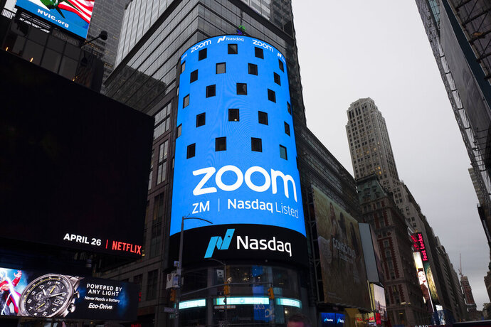 Nasdaq is ready for the Zoom IPO, Thursday, April 18, 2019 in New York. The videoconferencing company is headquartered in San Jose, California. (AP Photo/Mark Lennihan)