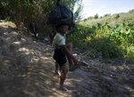 A migrant from Haiti removes his sandals before crossing the Rio Grande to Del Rio, Texas, from Ciudad Acuña, Mexico, Wednesday, Sept. 22, 2021. (AP Photo/Fernando Llano)