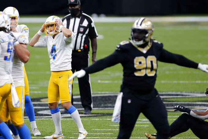 Los Angeles Chargers kicker Mike Badgley (4) reacts after missing a field goal in the second half of an NFL football game against the New Orleans Saints in New Orleans, Monday, Oct. 12, 2020. The Saints won in overtime, 30-27. (AP Photo/Brett Duke)