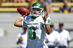 North Texas quarterback Mason Fine (6) looks to pass against the California during the first half of an NCAA college football game at Memorial Stadium in Berkeley, Calif., on Saturday, Sept. 14, 2019. (Jose Carlos Fajardo/San Jose Mercury News via AP)