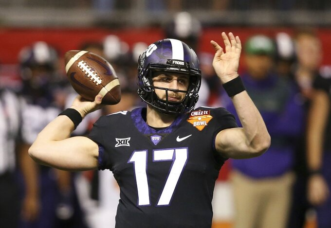 TCU quarterback Grayson Muehlstein throws a pass against California during the first half of the Cheez-It Bowl NCAA college football game Wednesday, Dec. 26, 2018, in Phoenix. (AP Photo/Ross D. Franklin)