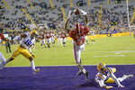 Alabama wide receiver DeVonta Smith (6) makes a touchdown grab against LSU cornerback Derek Stingley Jr. (24) during the first half of an NCAA college football game in Baton Rouge, La., Saturday, Dec. 5, 2020. (AP Photo/Matthew Hinton)