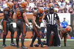 Cleveland Browns quarterback Baker Mayfield (6) hangs his head after being tackled in a safety during an NFL game against the Tennessee Titans, Sunday, Sept. 8, 2019, in Cleveland. (Margaret Bowles via AP)
