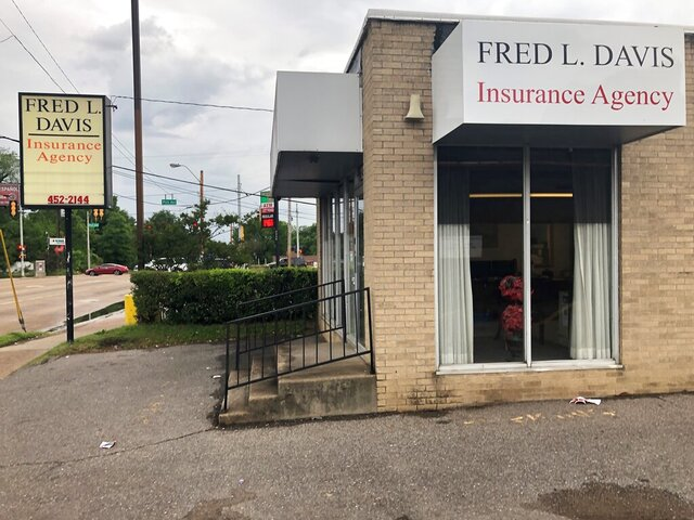 Fred L. Davis Insurance Agency sits near a busy intersection, Tuesday, May 12, 2020, in Memphis, Tenn. Founded in the 1960s by civic leader and businessman Fred L. Davis, the business was one of the first black-owned, independent insurance agencies in the South. Davis died Tuesday in Memphis. Davis supported the 1968 sanitation workers' strike in Memphis and marched with the Rev. Martin Luther King Jr. in March of that year. (AP Photo/Adrian Sainz)